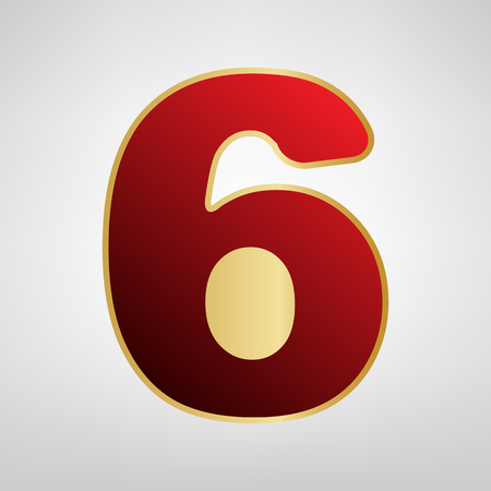 Number 6 sign design template element. Vector. Red icon on gold sticker at light gray background. Illustration