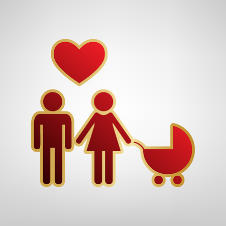 Family symbol with pram and heart. Husband and wife are kept each others hands. Love. Vector. Red icon on gold sticker at light gray background. Illustration