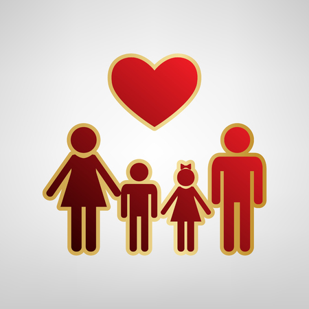 Family symbol with heart. Husband and wife are kept childrens hands. Vector. Red icon on gold sticker at light gray background. Vectores