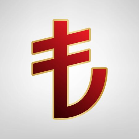 Turkiey Lira sign. Vector. Red icon on gold sticker at light gray background.