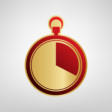 The 20 seconds, minutes stopwatch sign. Vector. Red icon on gold sticker at light gray background.