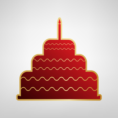 Cake with candle sign. Vector. Red icon on gold sticker at light gray background.