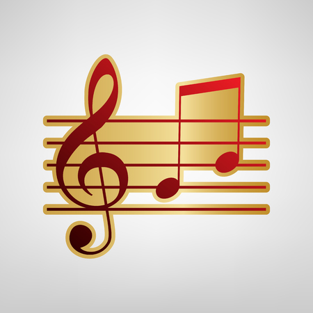 Music violin clef sign. G-clef and notes G, H. Vector. Red icon on gold sticker at light gray background.