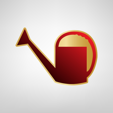 Watering sign. Vector. Red icon on gold sticker at light gray background. Illustration