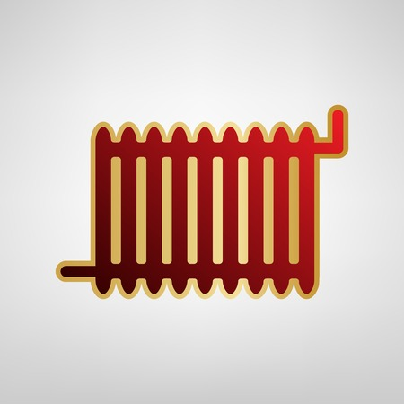 Radiator sign. Vector. Red icon on gold sticker at light gray background.