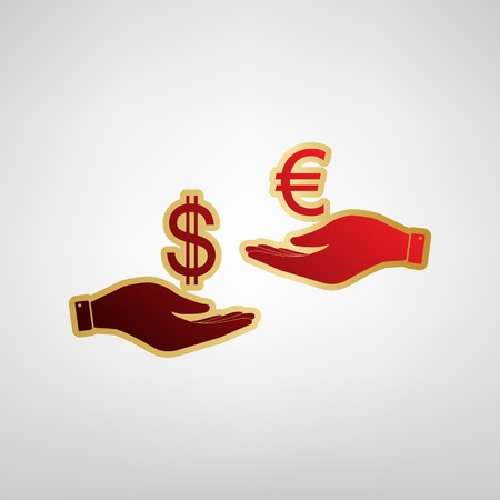 Currency exchange from hand to hand. Dollar adn Euro. Vector. Red icon on gold sticker at light gray background.