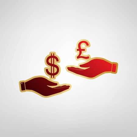 Currency exchange from hand to hand. Dollar and Pound. Vector. Red icon on gold sticker at light gray background. Illustration