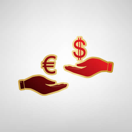 Currency exchange from hand to hand. Euro and Dollar. Vector. Red icon on gold sticker at light gray background.
