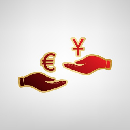 Currency exchange from hand to hand. Euro and Yuan. Vector. Red icon on gold sticker at light gray background.