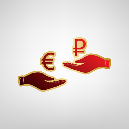 Currency exchange from hand to hand. Euro and Ruble. Vector. Red icon on gold sticker at light gray background.