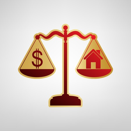 House and dollar symbol on scales. Vector. Red icon on gold sticker at light gray background. Vectores