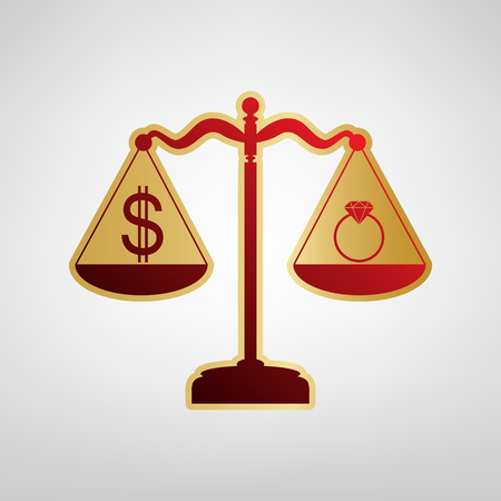 Ring jewelery and dollar symbol on scales. Vector. Red icon on gold sticker at light gray background. Illustration