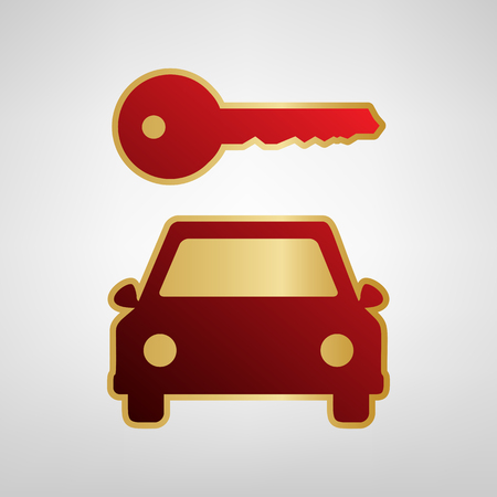 Car key simplistic sign Vector. Red icon on gold sticker at light gray background. Illustration