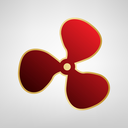 Fan sign Vector. Red icon on gold sticker at light gray background.