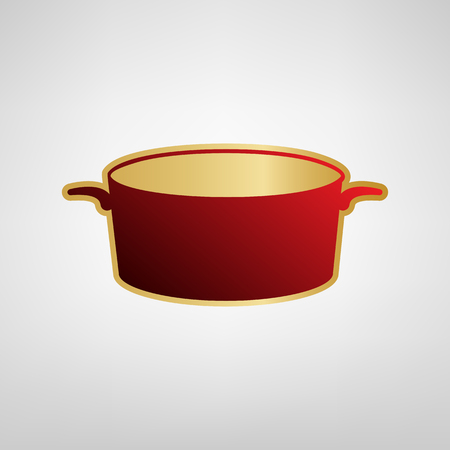 Pan sign Vector. Red icon on gold sticker at light gray background.