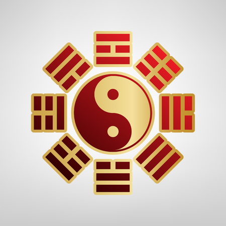 Yin and yang sign with bagua arrangement. Vector. Red icon on gold sticker at light gray background.
