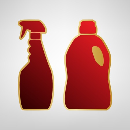 Household chemical bottles sign Vector. Red icon on gold sticker at light gray background. Illustration