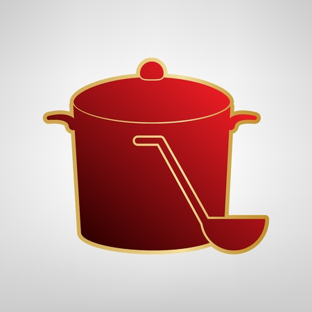 Pan with steam sign Vector. Red icon on gold sticker at light gray background.