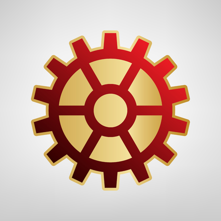 Gear sign. Vector. Red icon on gold sticker at light gray background. Illustration