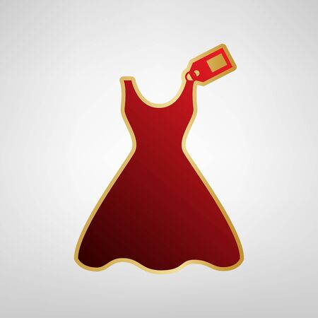 Woman dress sign with tag Vector. Red icon on gold sticker at light gray background.