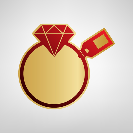 Diamond sign with tag Vector. Red icon on gold sticker at light gray background.