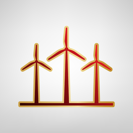 Wind turbines sign Vector. Red icon on gold sticker at light gray background.