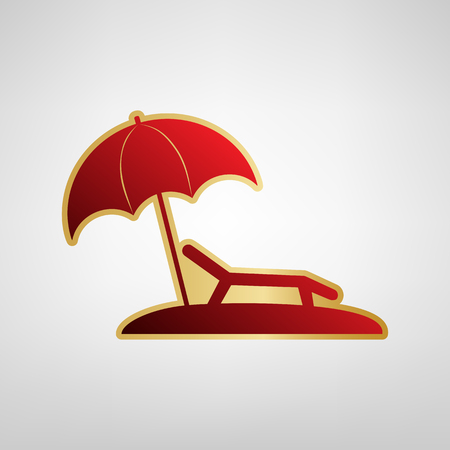 Vettore del segno della sedia di lettino. Icona rossa su adesivo oro a sfondo grigio chiaro.