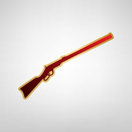 Hunting rifle icon vector illustration. Silhouette gun Vector. Red icon on gold sticker at light gray background.