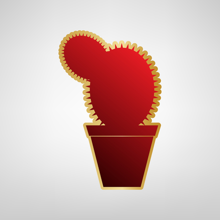 Cactus sign illustration. Vector. Red icon on gold sticker at light gray background. 일러스트