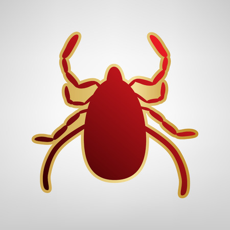 Dust mite sign illustration. Vector. Red icon on gold sticker at light gray background.