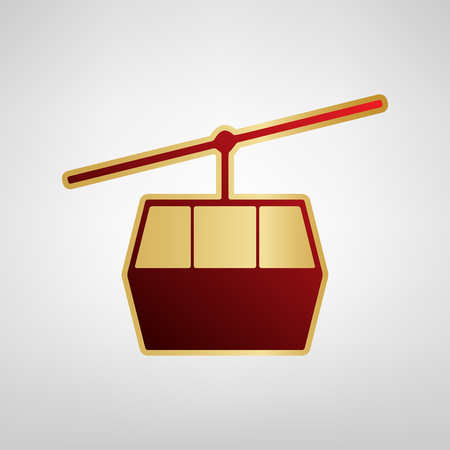 Funicular, Cable car sign. Vector. Red icon on gold sticker at light gray background.