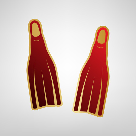 Diving flippers sign. Vector. Red icon on gold sticker at light gray background.