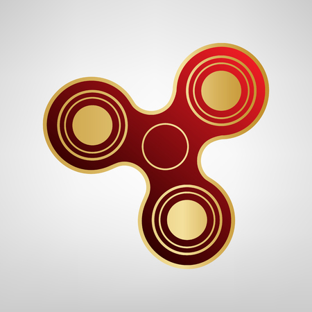 Fidget spinner sign. Vector. Red icon on gold sticker at light gray background.