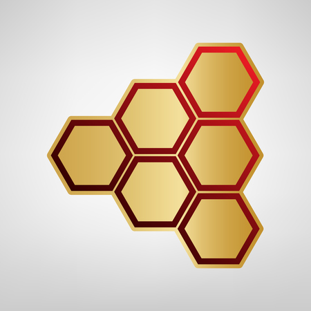 Honeycomb sign. Vector. Red icon on gold sticker at light gray background. Illustration