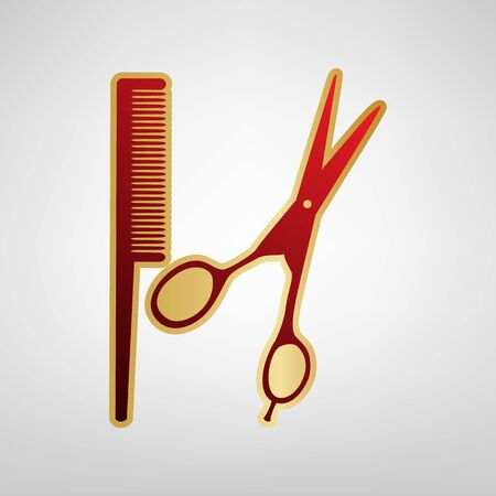 Barber shop sign. Vector. Red icon on gold sticker at light gray background.