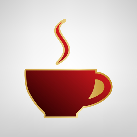 Cup sign with one small stream of smoke. Vector. Red icon on gold sticker at light gray background.