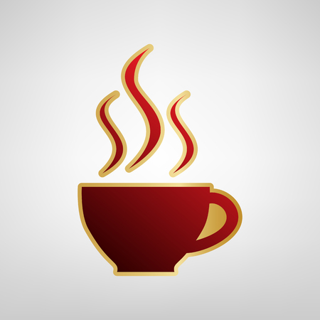 Cup sign with three small streams of smoke. Vector. Red icon on gold sticker at light gray background.