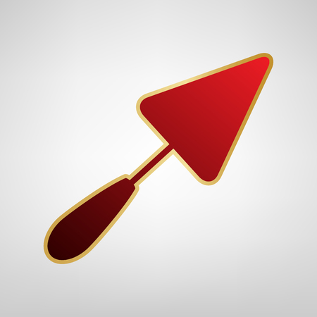 Trowel sign. Vector. Red icon on gold sticker at light gray background.