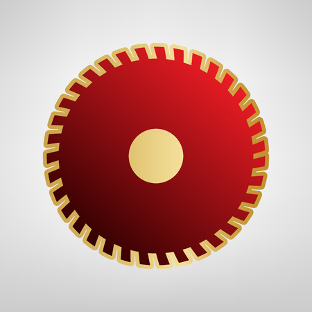Saw sign. Vector. Red icon on gold sticker at light gray background.