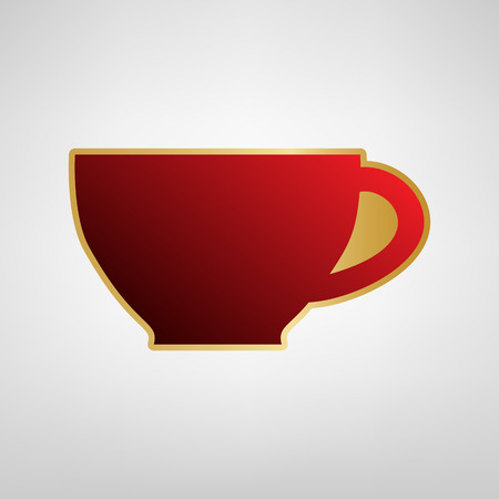 Cup sign. Vector. Red icon on gold sticker at light gray background. Иллюстрация