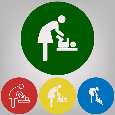 Women and baby symbol, baby changing. Vector. 4 white styles of icon at 4 colored circles on light gray background.