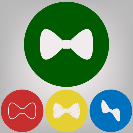 Bow Tie icon. Vector. 4 white styles of icon at 4 colored circles on light gray background.