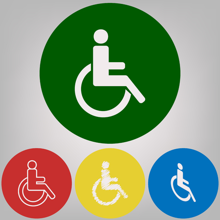 Disabled sign illustration. Vector. 4 white styles of icon at 4 colored circles on light gray background. Illustration