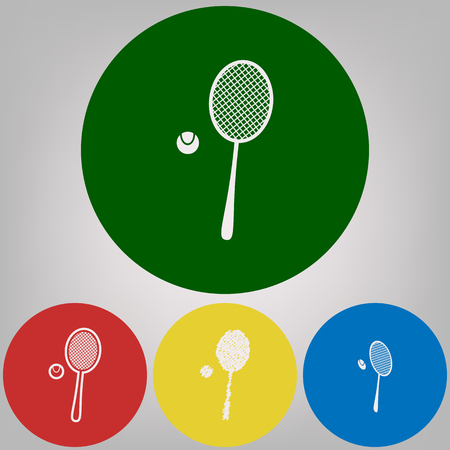 Tennis racquet with ball sign. Vector. 4 white styles of icon at 4 colored circles on light gray background.