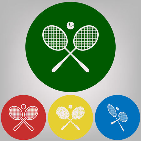 Two tennis racket with ball sign. Vector. 4 white styles of icon at 4 colored circles on light gray background.