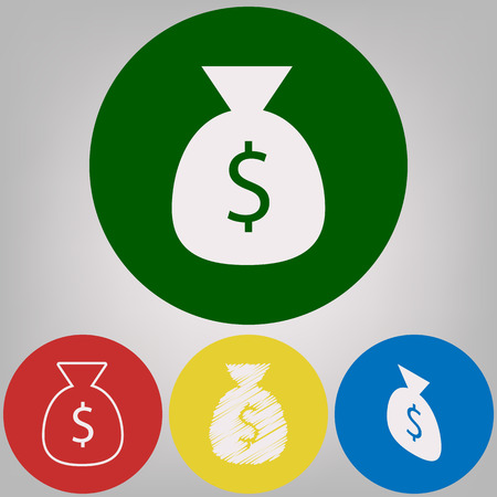 Money bag sign illustration. Vector. 4 white styles of icon at 4 colored circles on light gray background. Illustration