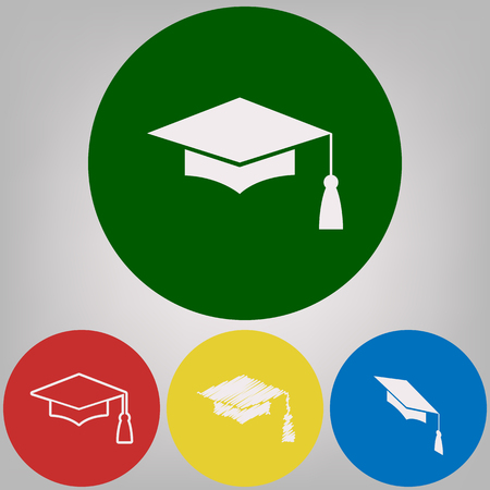 Mortar Board or Graduation Cap, Education symbol. Vector. 4 white styles of icon at 4 colored circles on light gray background.