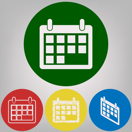 Calendar sign illustration. Vector. 4 white styles of icon at 4 colored circles on light gray background.