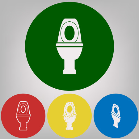 Toilet sign illustration. Vector. 4 white styles of icon at 4 colored circles on light gray background. Illustration