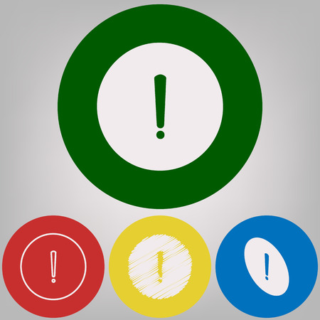 Exclamation mark sign. Vector. 4 white styles of icon at 4 colored circles on light gray background.